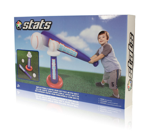 Final Manufactured Product for Davison Produced Product Invention Stats Inflatable Home Run Hitter with Bat