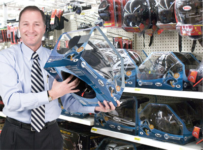 George Davison with Davison produced product idea: Fuel Helmet Packaging