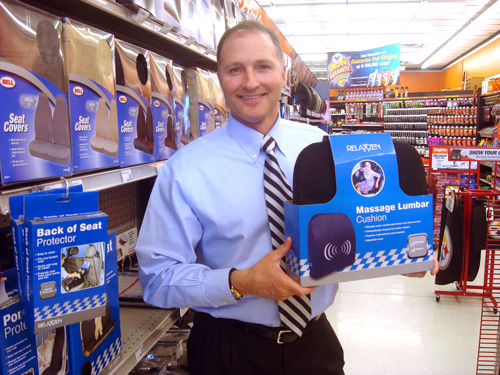 George Davison with Davison produced product idea: Massage Lumbar Cushion Packaging