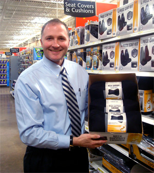 George Davison with Davison produced product idea: Neck Support Cushion Packaging