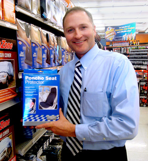 George Davison with Davison produced product idea: Poncho Seat Protector Packaging