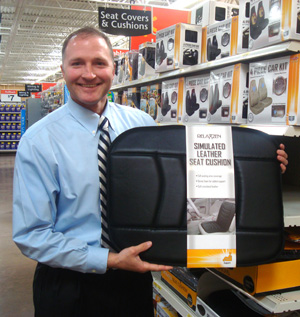 George Davison with Davison produced product idea: Simulated Leather Seat Cushion Packaging