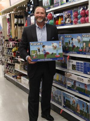 George Davison with Davison produced product idea: Stats Inflatable Football Post