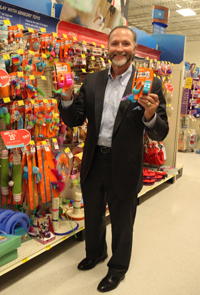 "George Davison with Davison produced product idea: Toys ""R"" US Pets Treat Dispensing Dangle Toy"