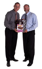 Inventor of the Surprise Pan, Pete, with Mr. Davison