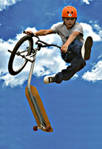 Child launches in air using Davison Product Invention The BikeBoard