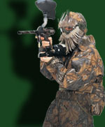 Man dressed in camoflauge gear using Goggleflauge headgear