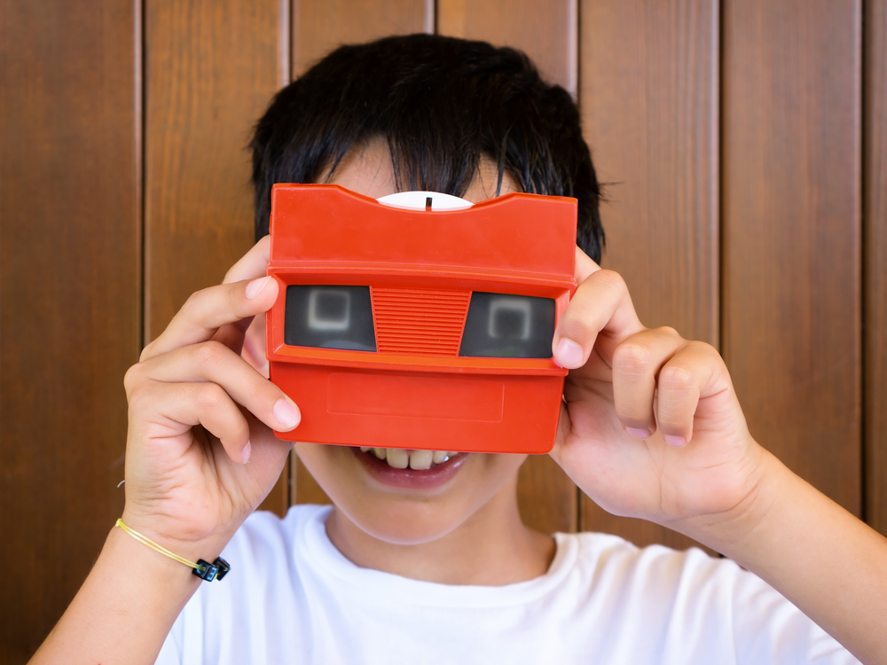 Boy with old View-Master toy